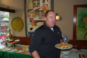 Fearless Leader Chris Thurgate samples the wonderful Ashoka buffet.