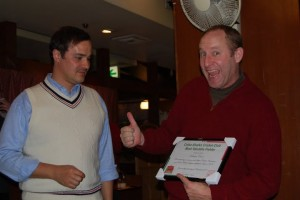 'Best Fielder Award' 2009: Nick 'I Can Fly, I Can Fly' Creece (accepted on his behalf by Anton Lloyd-Williams, left)